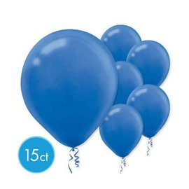 Bright Royal Blue Solid Color Latex Balloons - Packaged, 15ct