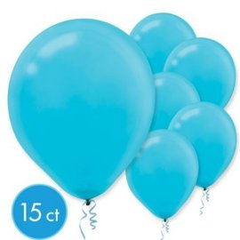 Caribbean Blue Solid Color Latex Balloons - Packaged, 15ct