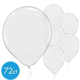 Clear Solid Color Latex Balloons - Packaged, 72ct