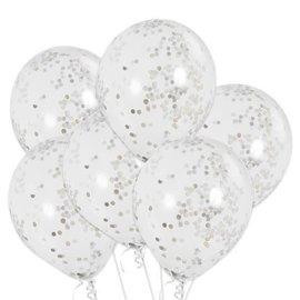 """12"""" Silver Confetti Balloons, 6ct"""