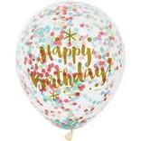 "12"" Rainbow Confetti Balloons, 6ct"