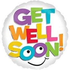 """Get Well Colorful Letters Balloon, 18"""""""
