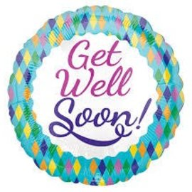 "Get Well Colorful Diamonds Balloon, 18"" (#134)"