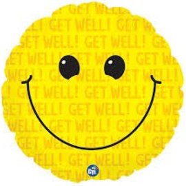 Get Well Smiley Balloon, 18""