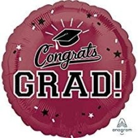 Congrats Grad Circle Balloon- Burgundy, 18""