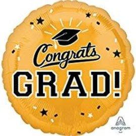"""Congrats Grad Circle Balloon- Gold, 18"""""""
