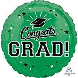 """Congrats Grad Circle Balloon- Green, 18"""""""