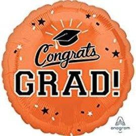 """Congrats Grad Circle Balloon- Orange, 18"""""""