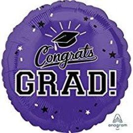 """Congrats Grad Circle Balloon- Purple, 18"""""""
