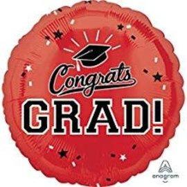 """Congrats Grad Circle Balloon- Red, 18"""""""