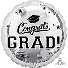 """Congrats Grad Circle Balloon- Silver 18"""""""