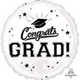 Congrats Grad Circle Balloon- White 18""