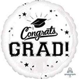 """Congrats Grad Circle Balloon- White 18"""""""