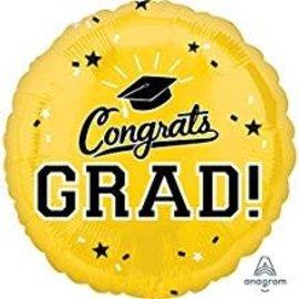 """Congrats Grad Circle Balloon- Yellow 18"""""""