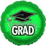 """Congratulations Grad Circle Balloon- Green, 18"""""""