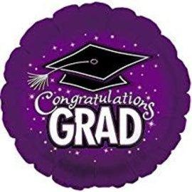 "Congratulations Grad Circle Balloon- Purple, 18"""