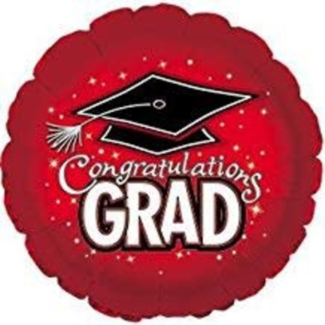 "Congratulations Grad Circle Balloon- Red, 18"""