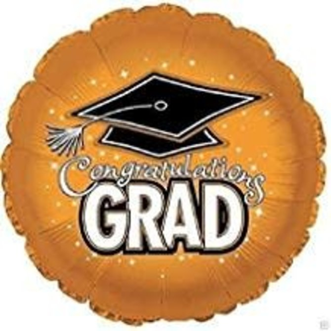 "Congratulations Grad Circle Balloon- Orange, 18"""