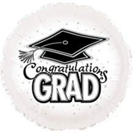 Congratulations Grad Circle Balloon- White, 18""