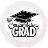"""Congratulations Grad Circle Balloon- White, 18"""""""