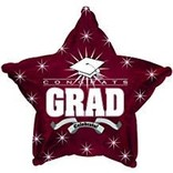 Congrats Grad Star Balloon- Burgundy, 19""