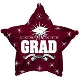"""Congrats Grad Star Balloon- Burgundy, 19"""""""