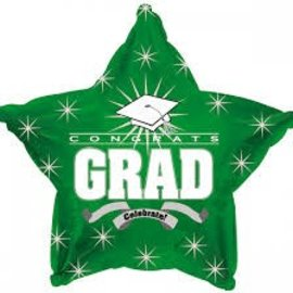 Congrats Grad Star Balloon- Green, 19""