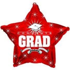"""Congrats Grad Star Balloon- Red, 19"""""""