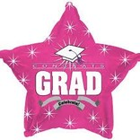 "Congrats Grad Star Balloon- Pink, 19"""