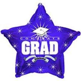 "Congrats Grad Star Balloon- Purple, 19"""