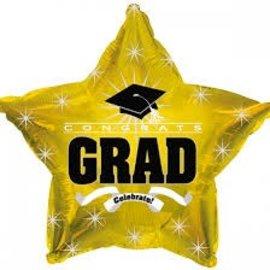 """Congrats Grad Star Balloon- Gold, 19"""""""