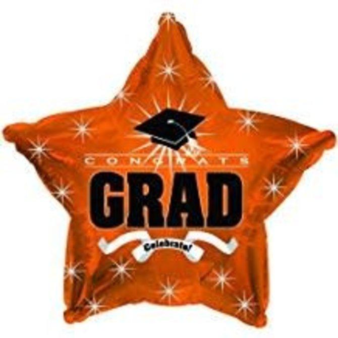 """Congrats Grad Star Balloon- Orange, 19"""""""