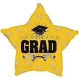 """Congrats Grad Star Balloon- Yellow, 19"""""""