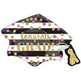"""Gold Confetti Grad Cap Balloon, 31"""""""