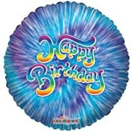 "Happy Birthday Tie Dye Balloon, 18"""
