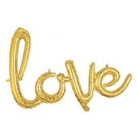 Love Balloon Script Phrase Gold