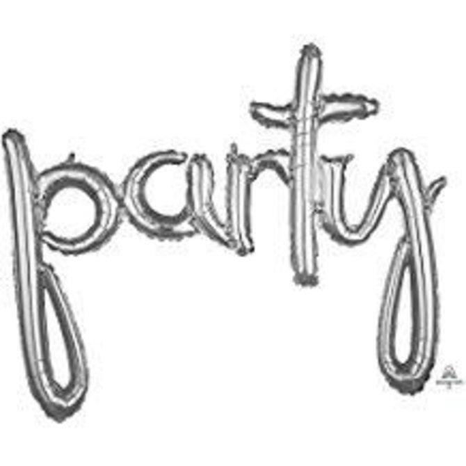 """39"""" Phrase """"Party""""- Silver"""