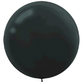 "24"" Round Latex Balloons - Black 4ct"