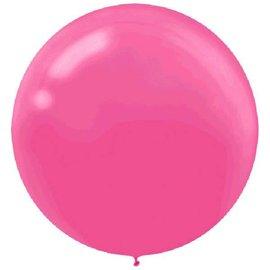 "24"" Round Latex Balloons - Bright Pink 4ct."