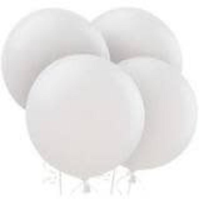 "24"" Round Latex Balloons - White 4ct"