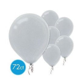 Silver Pearlized Latex Balloons - Packaged, 72ct