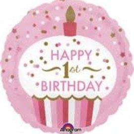 "Baby's 1st Birthday Pink Balloon, 18"" (#126)"