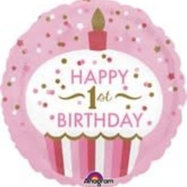 "Baby's 1st Birthday Pink Balloon, 18"""