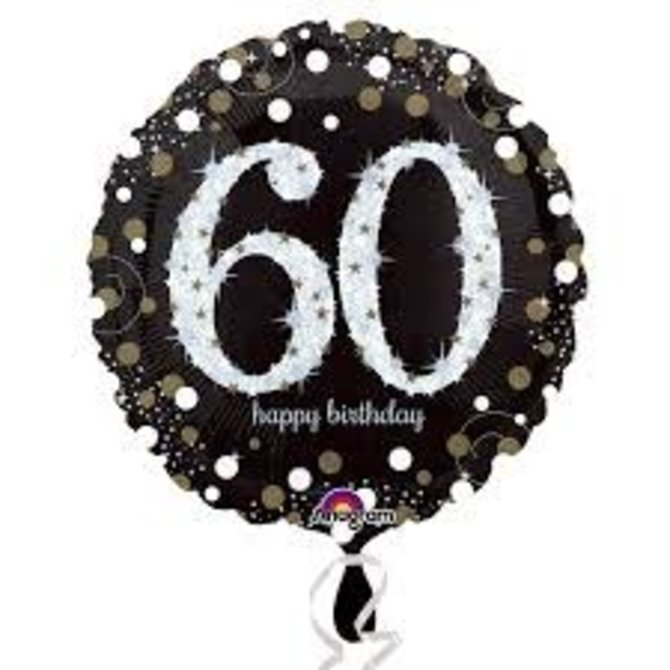Sparkling 60th Birthday Balloon, 18""