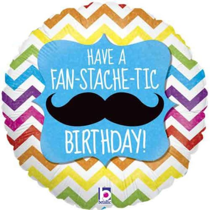 "Fan-Stache-Tic Birthday Balloon, 18"""