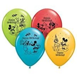 "12"" Mickey Mouse Happy Birthday Latex Balloons, Multicolored 6ct"
