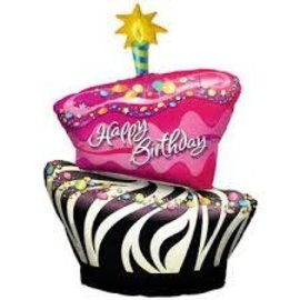 "Happy Birthday Funky Zebra Cake Balloon, 41"" (#167)"