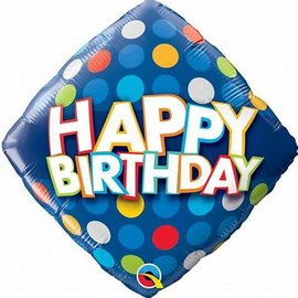 "Happy Birthday Blue Colorful Dots Balloon, 18"" (#124)"