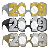 2019 New Years Glitter Glasses Multi-Pack - Black, Silver, Gold