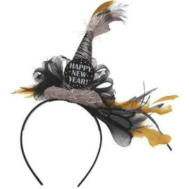 Happy New Year Deluxe Headband - Black/Silver/Gold